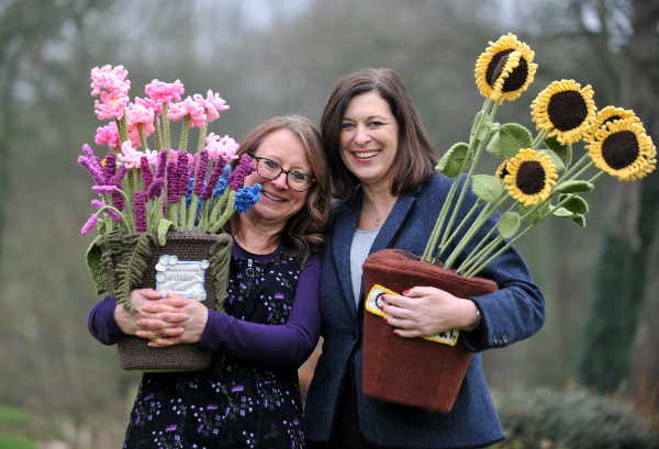 RHS Malvern Spring Festival - Work of Heart - Clare Young, Chief Knit, Suzy Hillier, Head of Commercial Three Counties.jpg